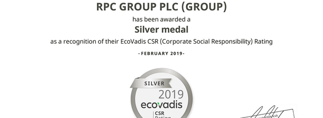 RPC Group gets Silver Recognition in CSR Rating 2019